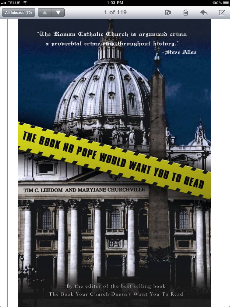 Best selling author Tim C. Leedom Announces his latest book The Book No Pope Would Want You to Read